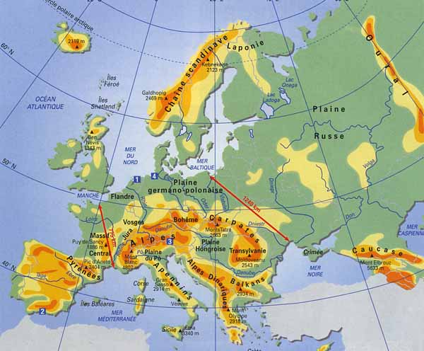 carte europe oural